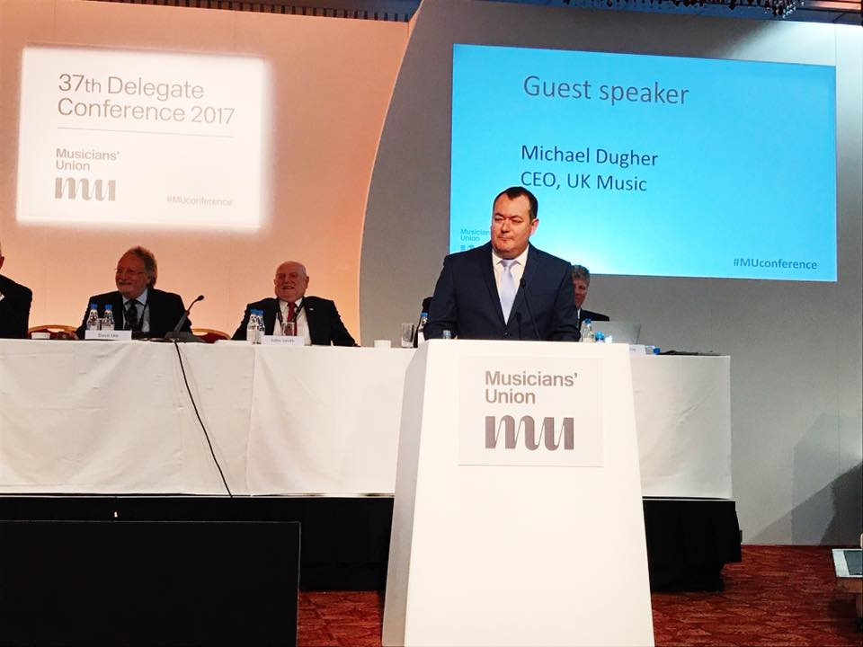UK Music CEO Michael Dugher speaks at MU Conference, Brighton.
